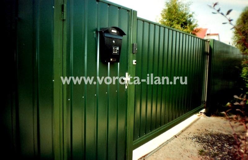 Ворота откатные_зелёные