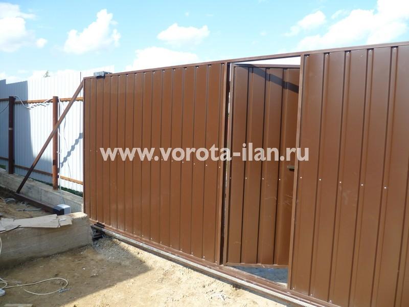 Ворота откатные коричневые с калиткой_фото 2