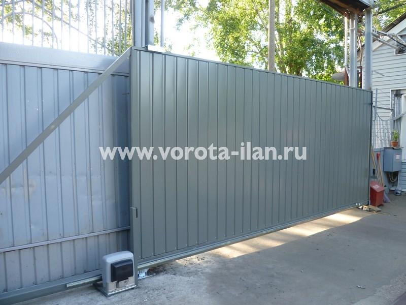 Ворота откатные серые_фото 3