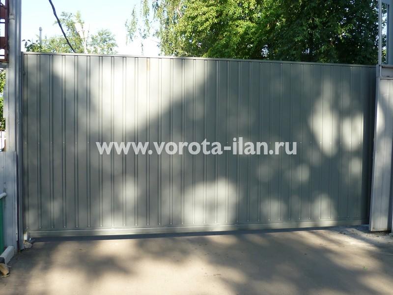 Ворота откатные серые_фото 2
