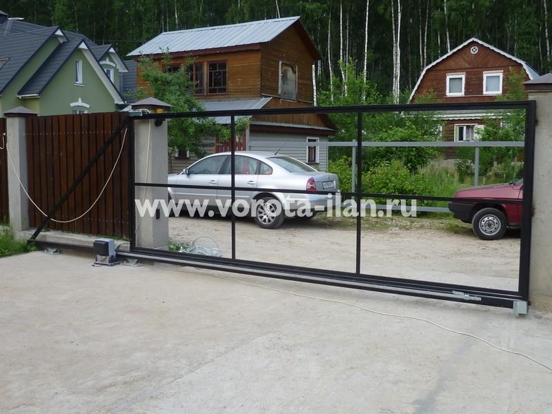 ворота откатные_темный кирпичный забор_фото 14