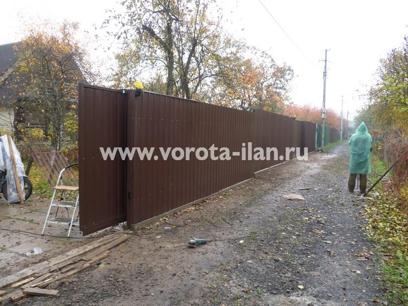 Ворота откатные профлист коричневый_фото 4