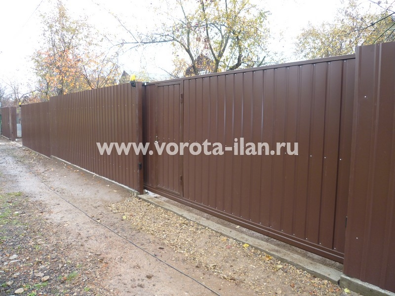 Ворота откатные профлист коричневый_фото 1
