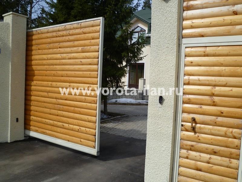Ворота откатные_обшивка натуральным деревом_фото 3