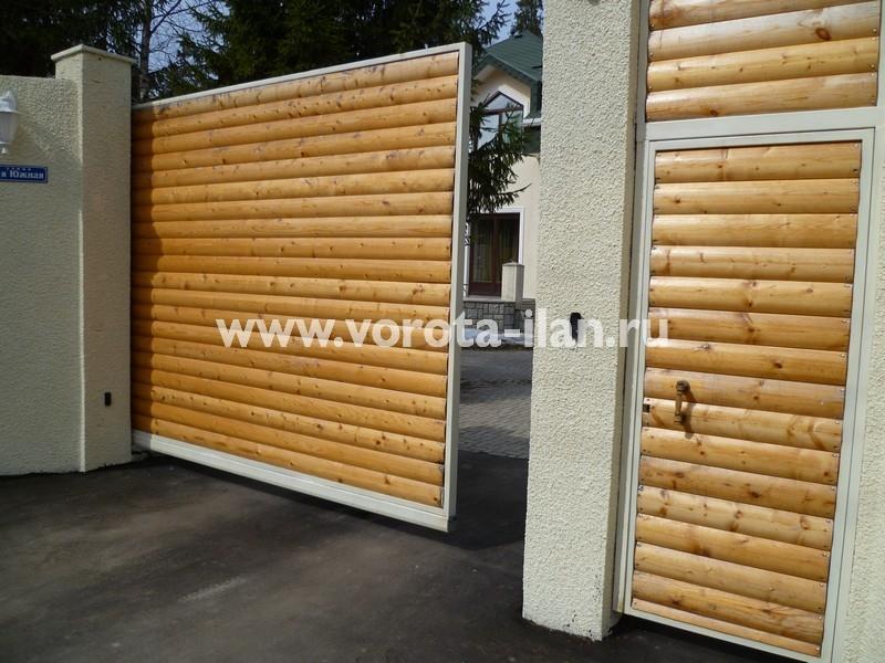 Ворота откатные_обшивка натуральным деревом_фото 2