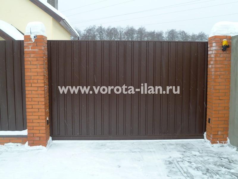 ворота откатные тёмно-коричневые_фото 4