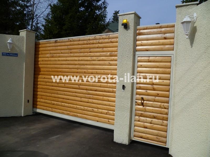 Ворота откатные_обшивка натуральным деревом_фото 1