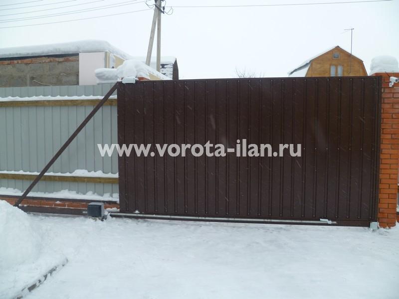 ворота откатные тёмно-коричневые_фото 1