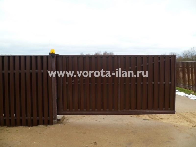 Ворота откатные_комбинированная обшивка_фото 9