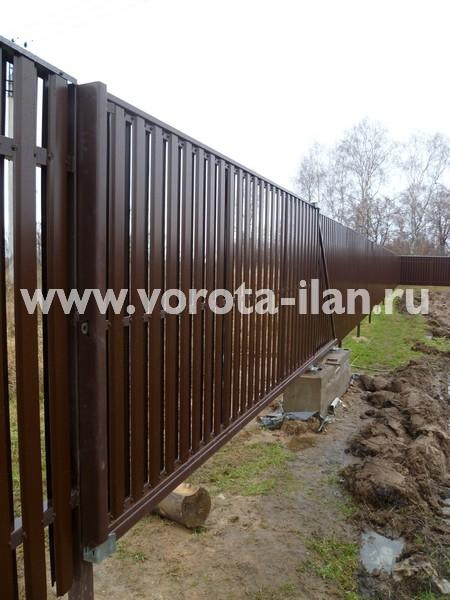 Ворота откатные_комбинированная обшивка_фото 5