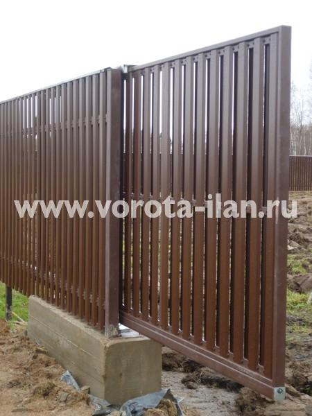 Ворота откатные_комбинированная обшивка_фото 3