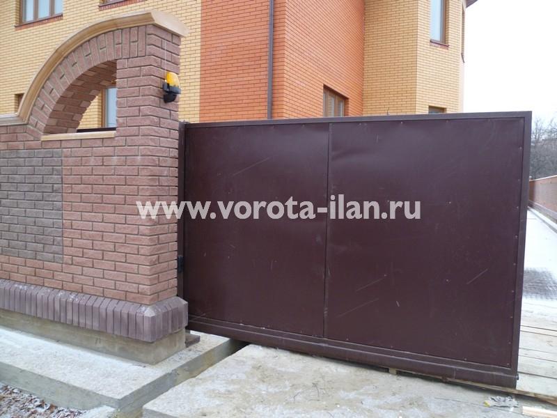 Ворота откатные_гладкий лист_фото 1