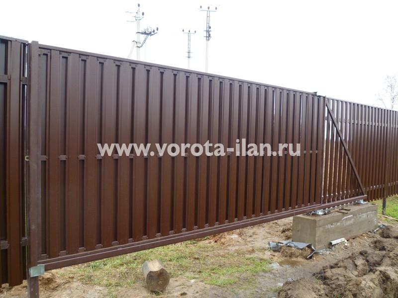 Ворота откатные_комбинированная обшивка_фото 1