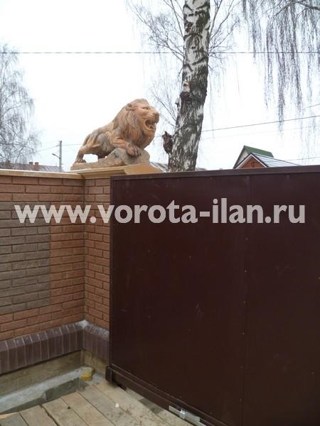 Ворота откатные, зашитые коричневым профлистом_фото 1