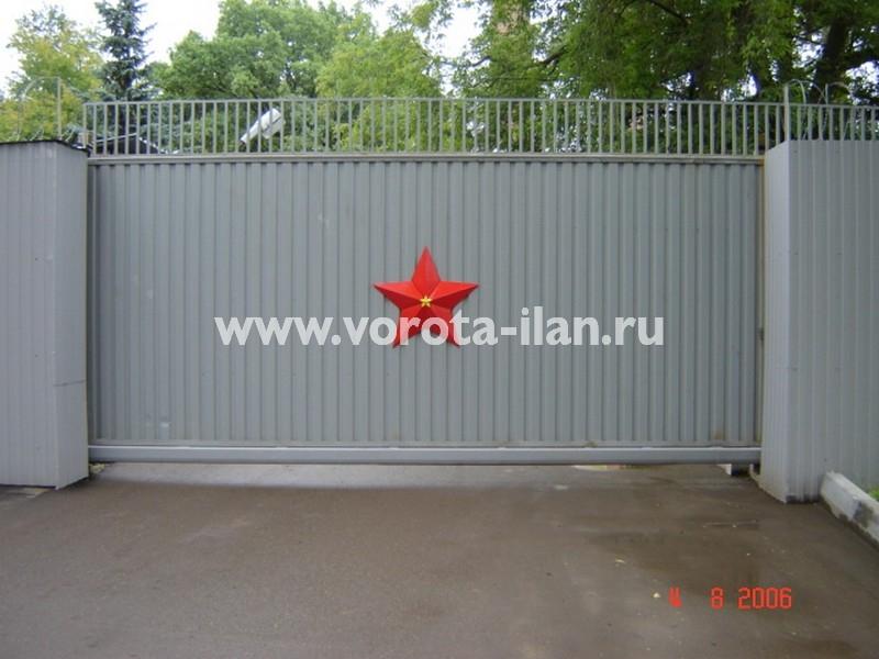 Ворота откатные_нижняя консоль_профлист серый_фото 2