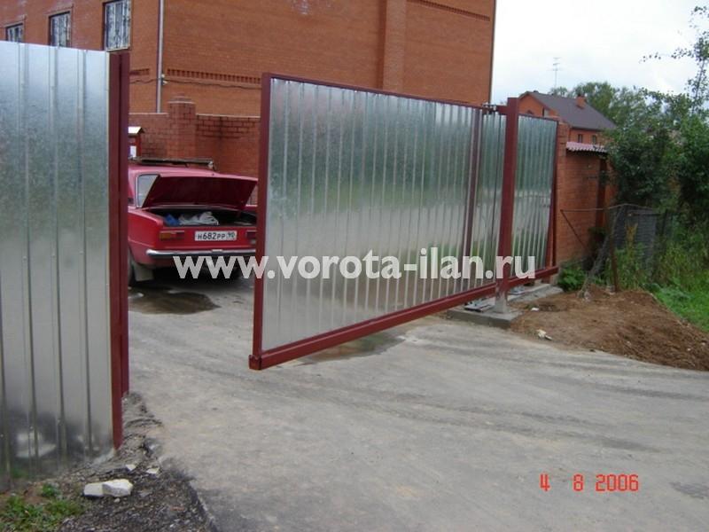 Ворота откатные_нижняя консоль_профлист серебро_фото 2