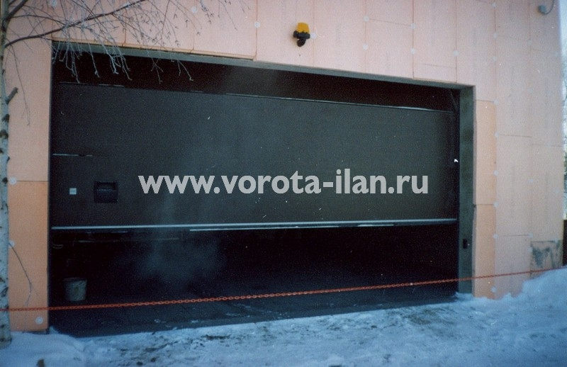Ворота секционные гаражные_коричневые широкие