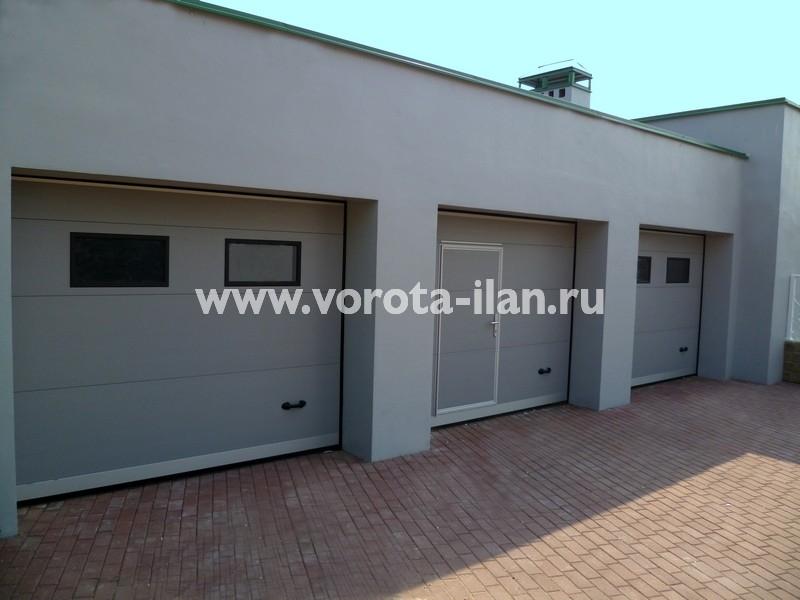 Ворота секционные гаражные_серые_фото 2