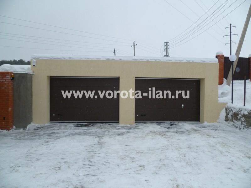 Ворота секционные гаражные_тёмно-коричневые_фото 2